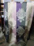 A pair of drapes pink grey cream motif each panel 144 x 272cm