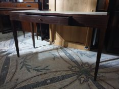 A single drawer console / wiritng table with antique brass leg cap ends 130 x 45 x 75cm