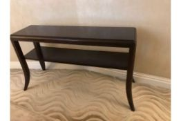 A Two Tier Walnut Veneer Console Table With Sabre Tapering Legs 120 X 35 X 72cm