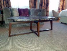 Kravetz Polished Marble Oval Coffee Table 140 X 50 X 44cm