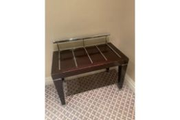 Mahogany And Chrome Luggage Stand 80 X 45 X 55cm