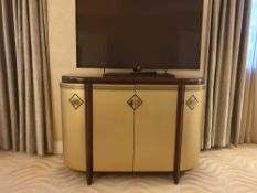 Contemporary Art Deco Style Gold Finished Demilune Credenza With Four Doors 120 X 46 X 86cm ( Loc