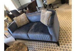 Medea Italy Upholstered velvet Quilted Two Seater Sofa Blue 170 x 80 x 67cm
