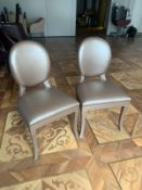 A pair of Smania Italy upholstered Leather side chair gold 52 x 45 x 95cm