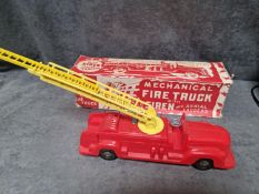 Louis Marx Mechanical Fire Truck With Siren And Aerial Ladders Circa 1949 Vintage Plastic Model