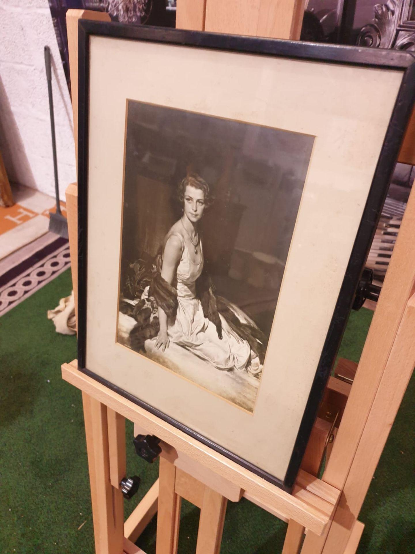 Black and white framed photoprint Portrait of Lady Evelyn Margaret Mason formerly Lindsay Born 8 May - Image 2 of 3