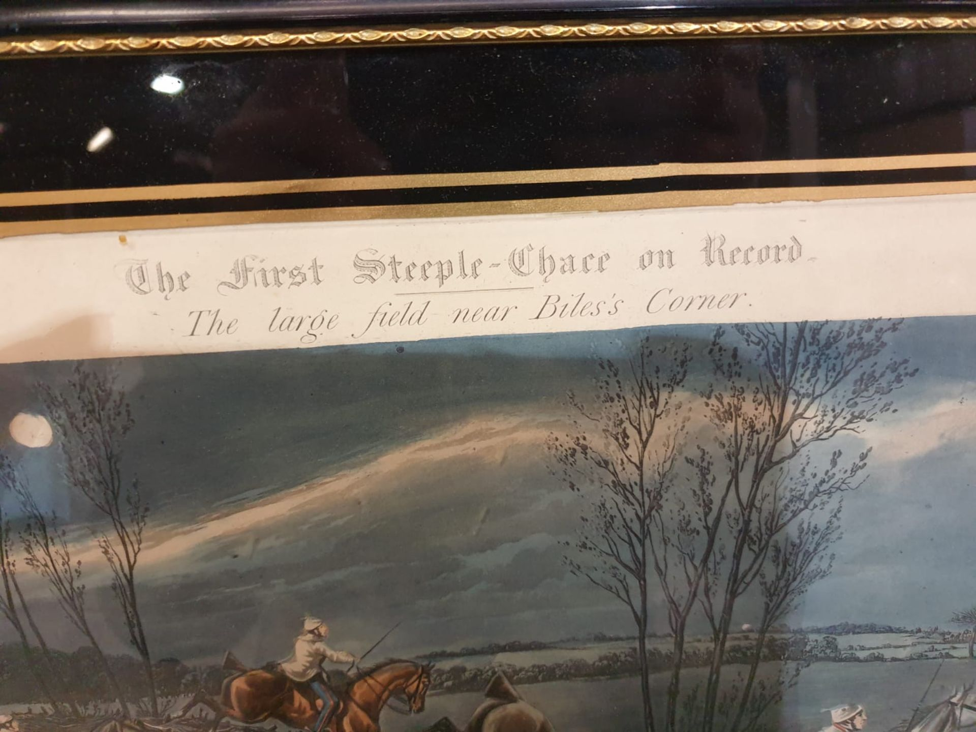 Framed vintage print The First Steeplechase on Record - The large field near Biles's corner (after - Image 4 of 5
