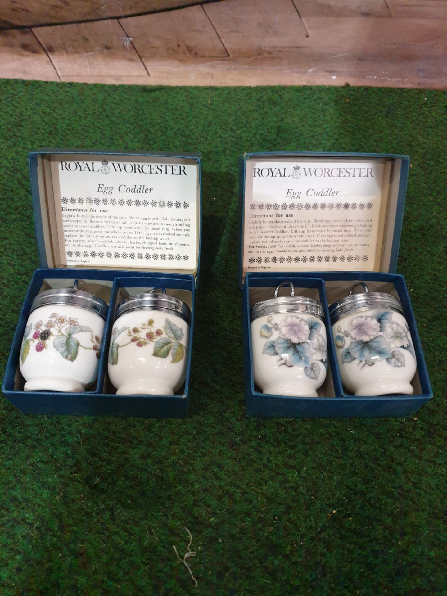 Royal Worcester Egg Coddlers 2 x boxed pairs of porcelain decorated egg coddlers