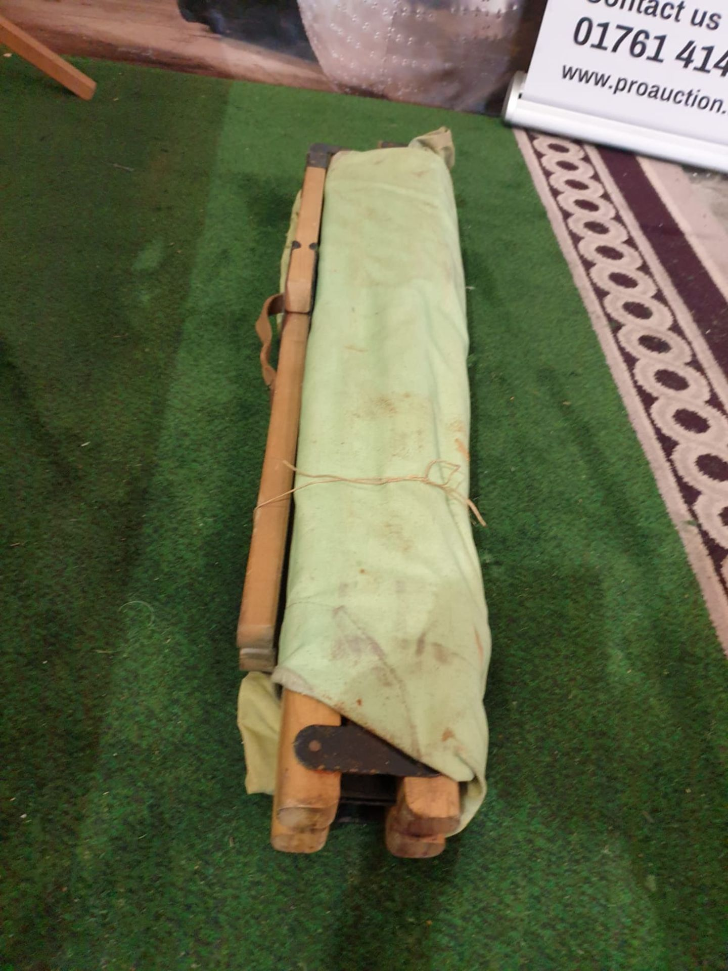 3 x Vintage WWII Wood & Canvas Medical Stretcher Reclaimed vintage WW2 British army medical - Image 4 of 4