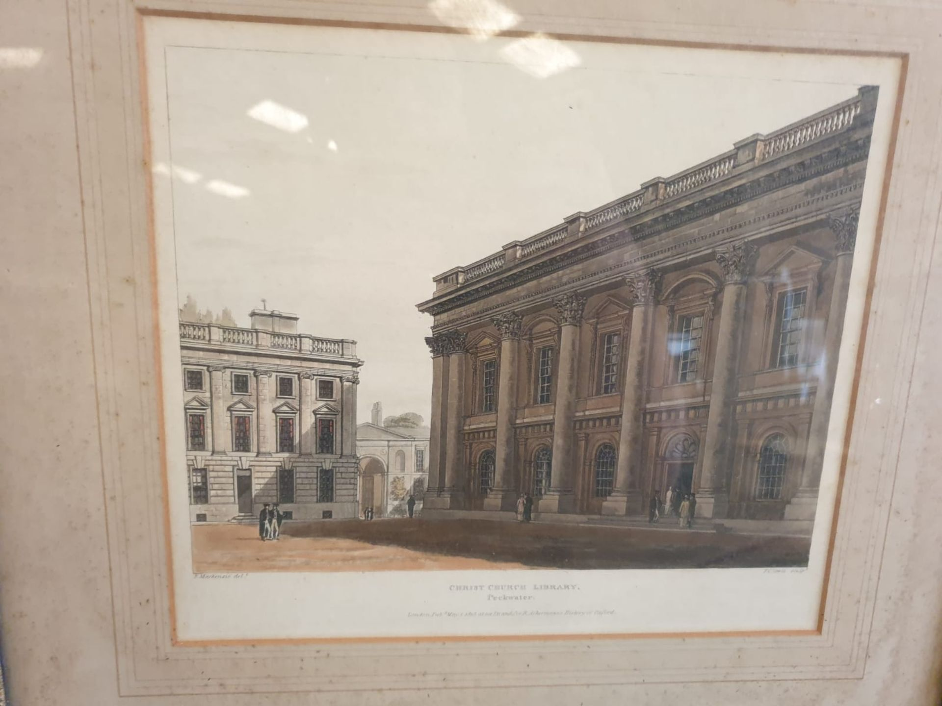 A set of 2 framed Coloured prints Radcliffe Library Oxford and Christchurch library Oxford F C Lewis - Image 4 of 5
