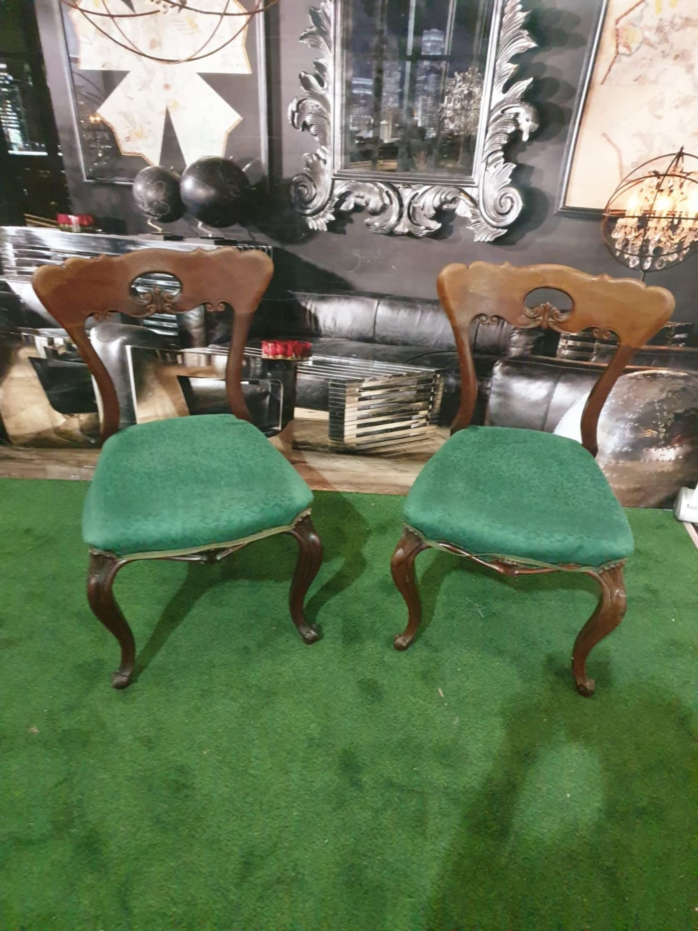 A pair of Victorian walnut chairs. The spoon shaped backs with moulded supports and a shaped and - Image 2 of 5