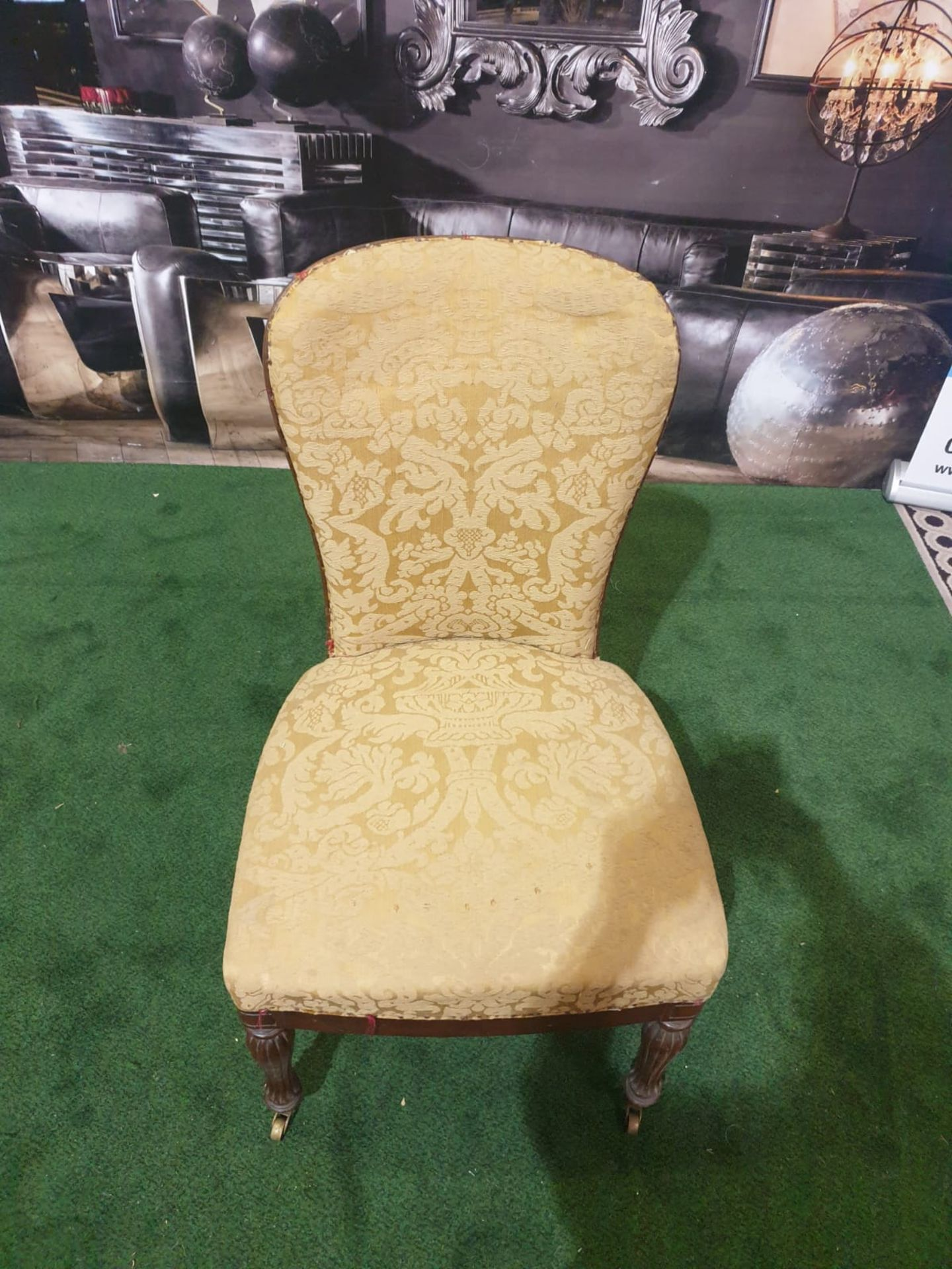 A pair of George III mahogany and upholstered side chairs Each with a rounded shaped padded back and - Image 3 of 4