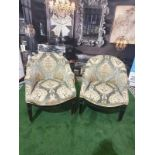 A Pair of Neoclassical / George III style Tub Chairs c. Early 20th Century Each with rounded backs