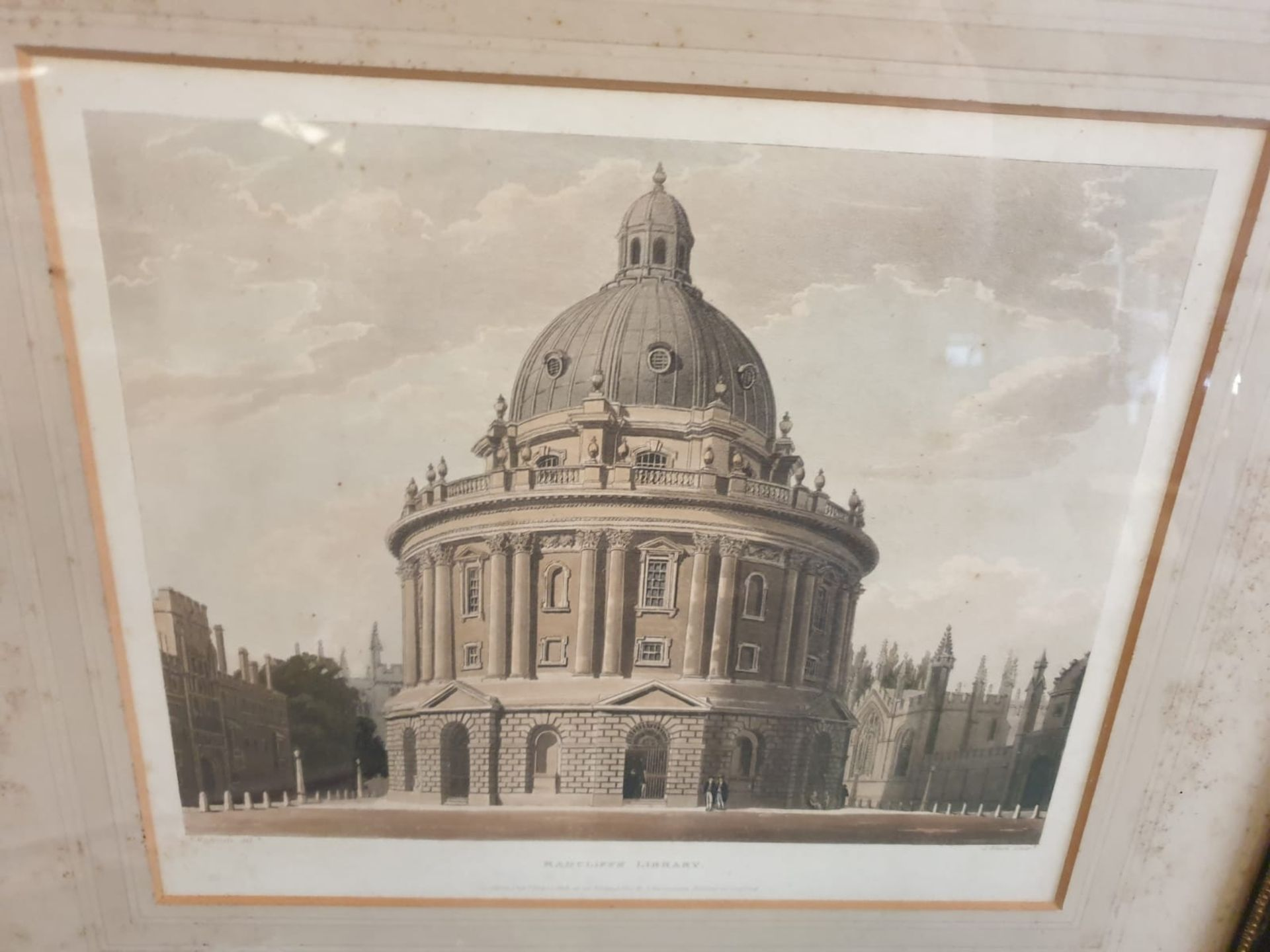 A set of 2 framed Coloured prints Radcliffe Library Oxford and Christchurch library Oxford F C Lewis - Image 5 of 5