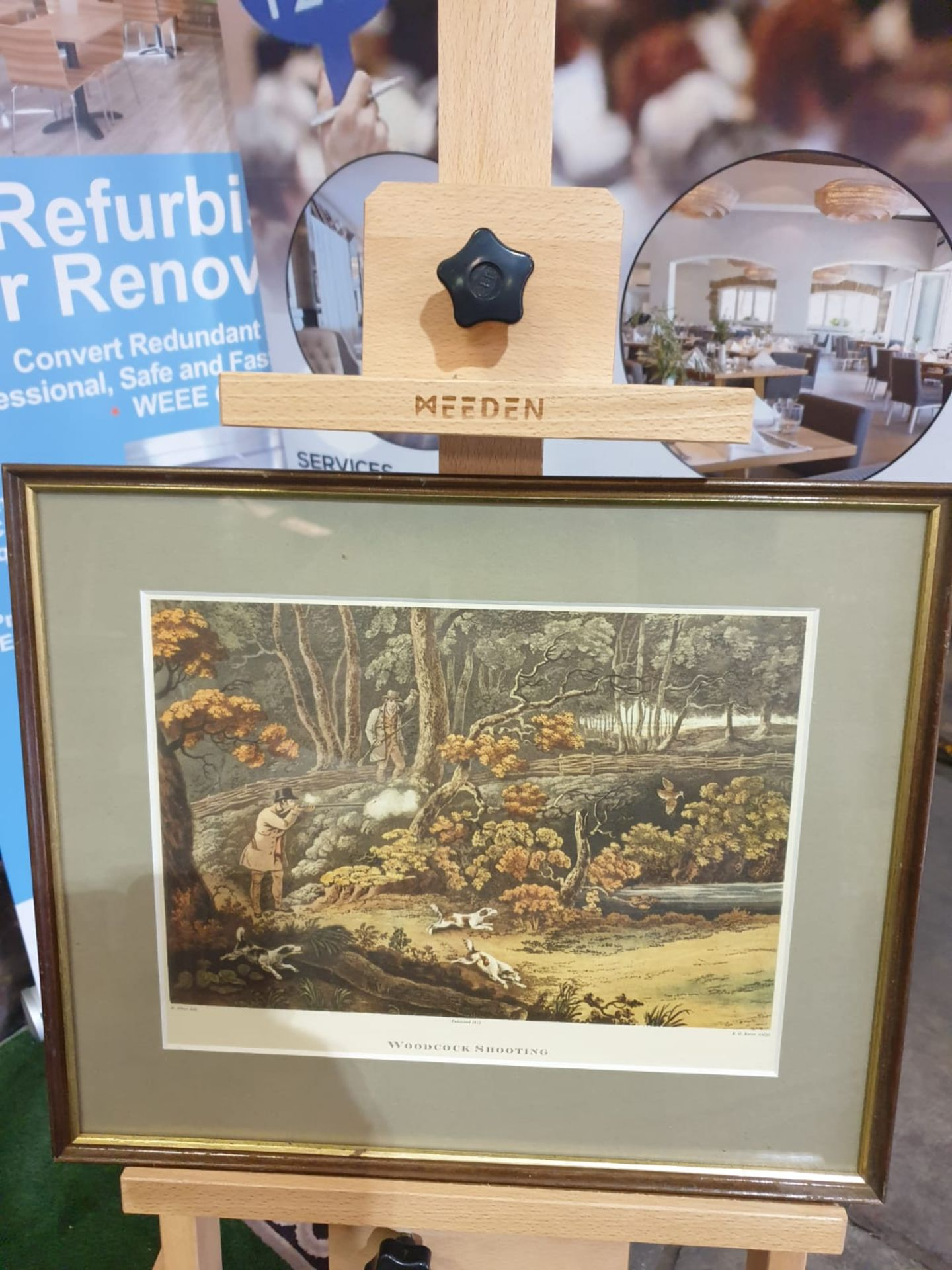 Framed coloured lithograph Woodstock Shooting R.G. Reeve, published 1806 44 x 37cm - Image 2 of 4