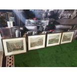 Set of 4 hunting aquatint prints in Black frame-50 x 42cm