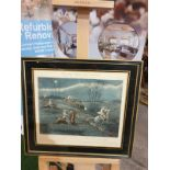 Framed vintage print The First Steeplechase on Record - The large field near Biles's corner (after