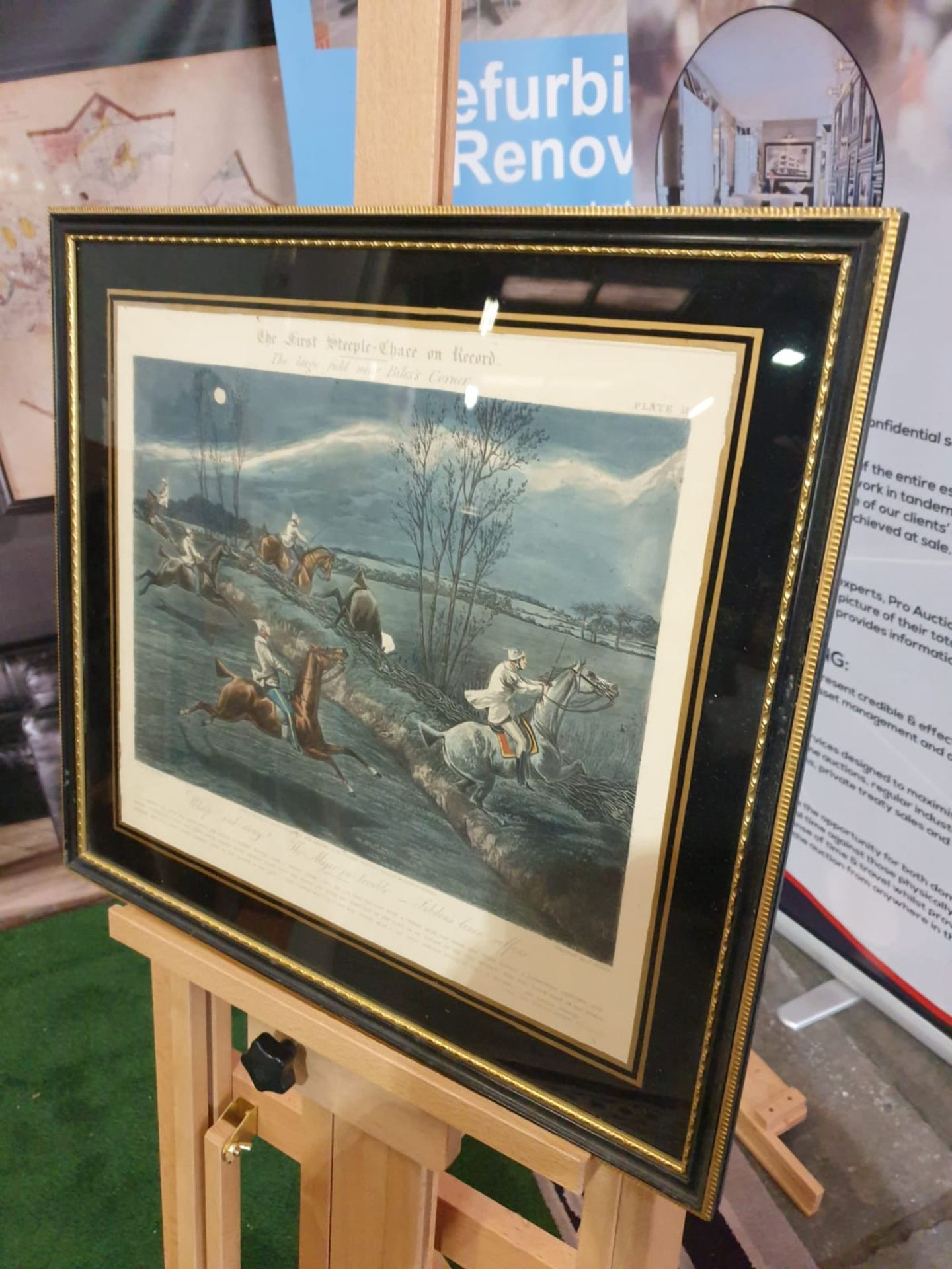 Framed vintage print The First Steeplechase on Record - The large field near Biles's corner (after - Image 2 of 5