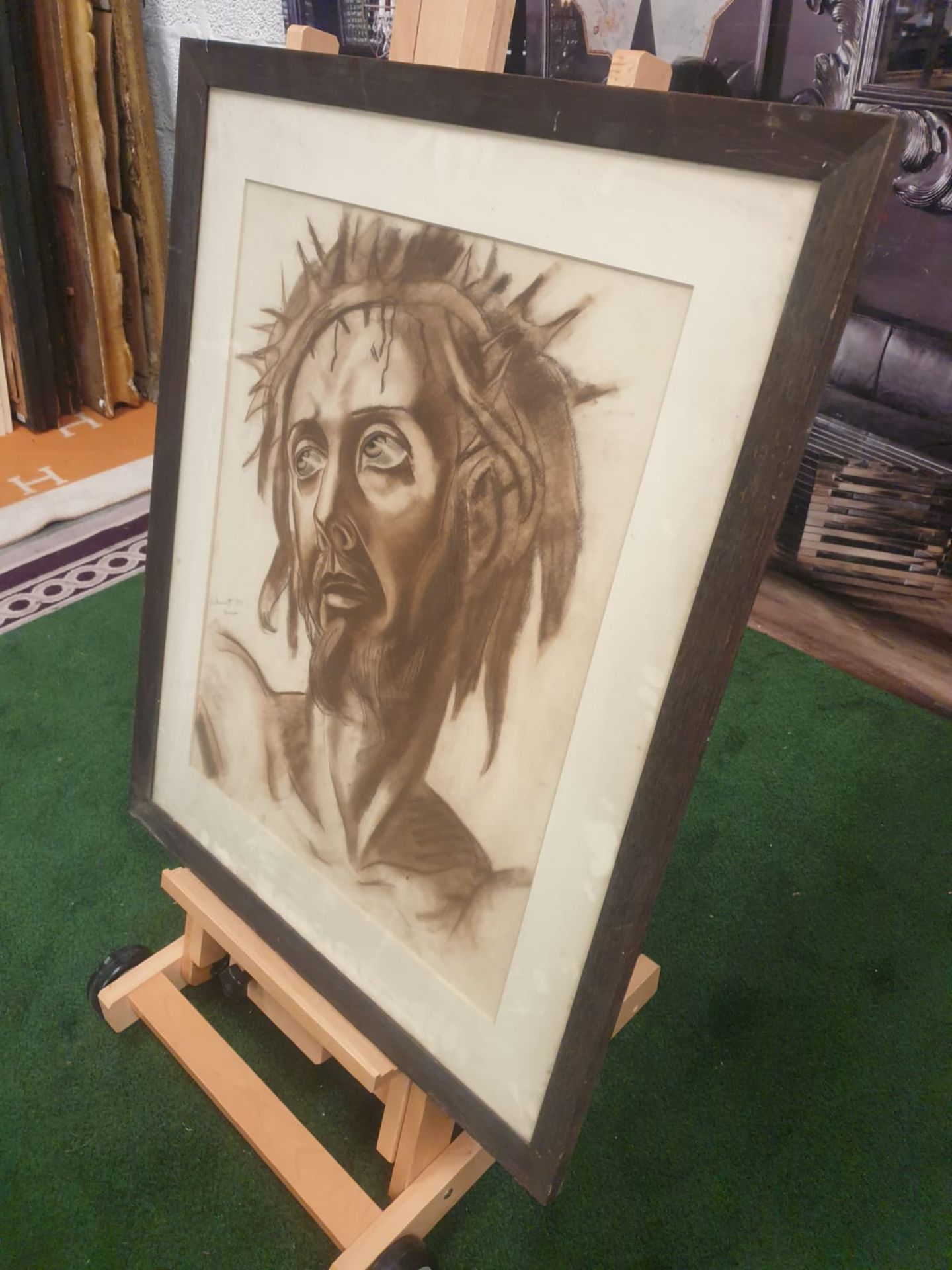 Drawing wash attributed to Michail Semiovitch Rodionoff 1885-1956 Christ with crown of thorns c. - Image 3 of 5