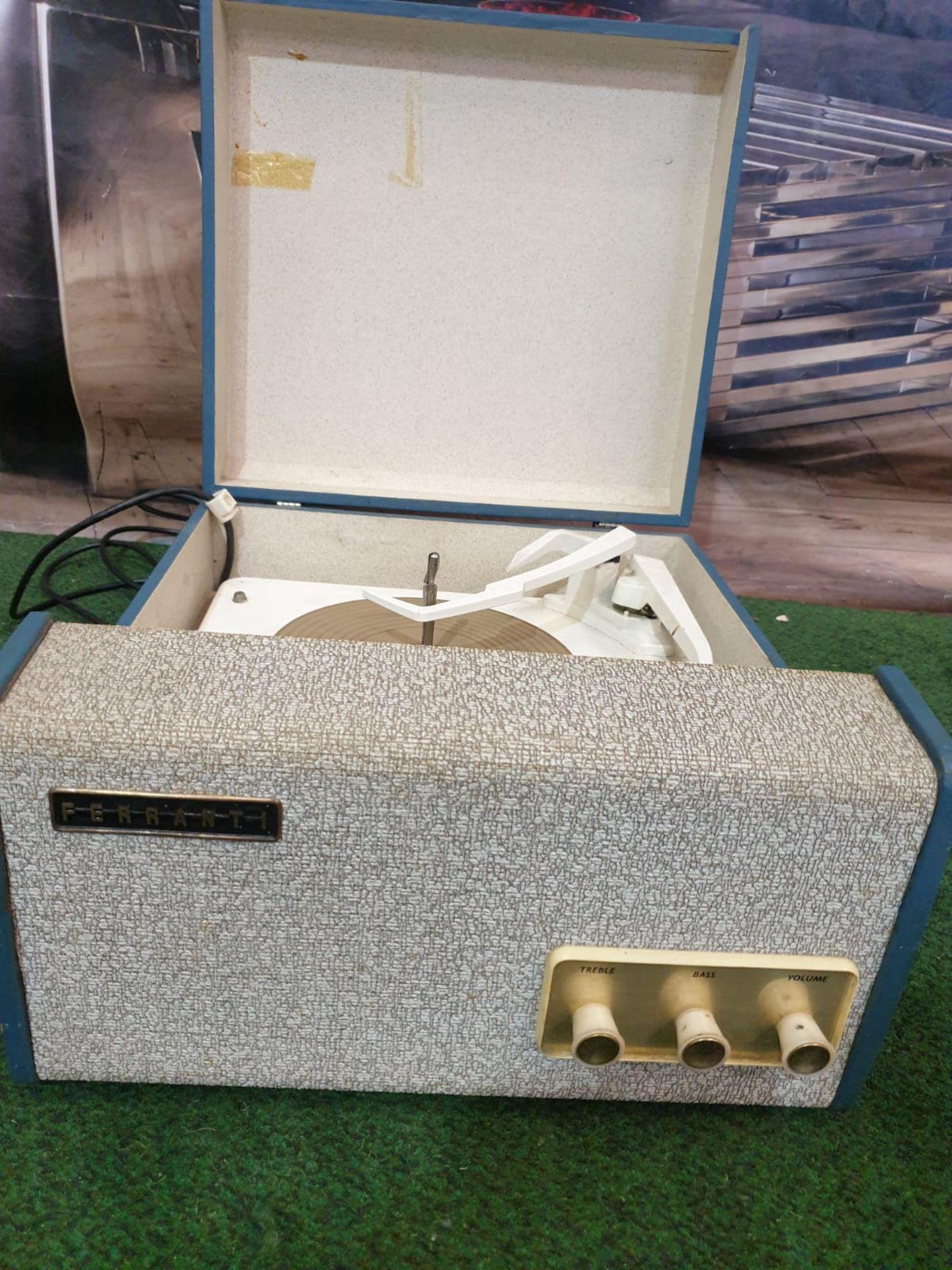 Travel record Player Blue Case Made By Ferranti Circa 1958 Ferranti or Ferranti International plc - Image 3 of 3