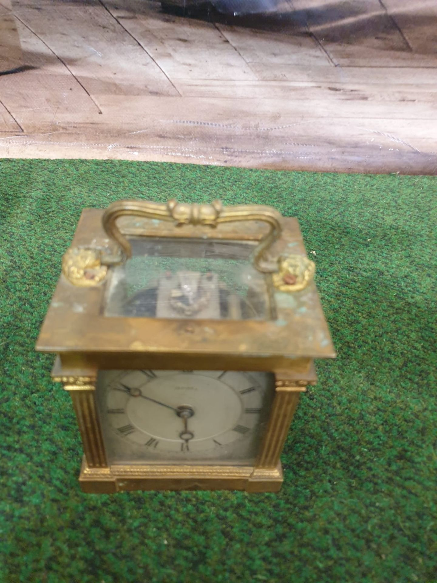 Lepine Mantle Clock Dore bronze and glass, two train (missing the strike train), single spring - Image 2 of 4