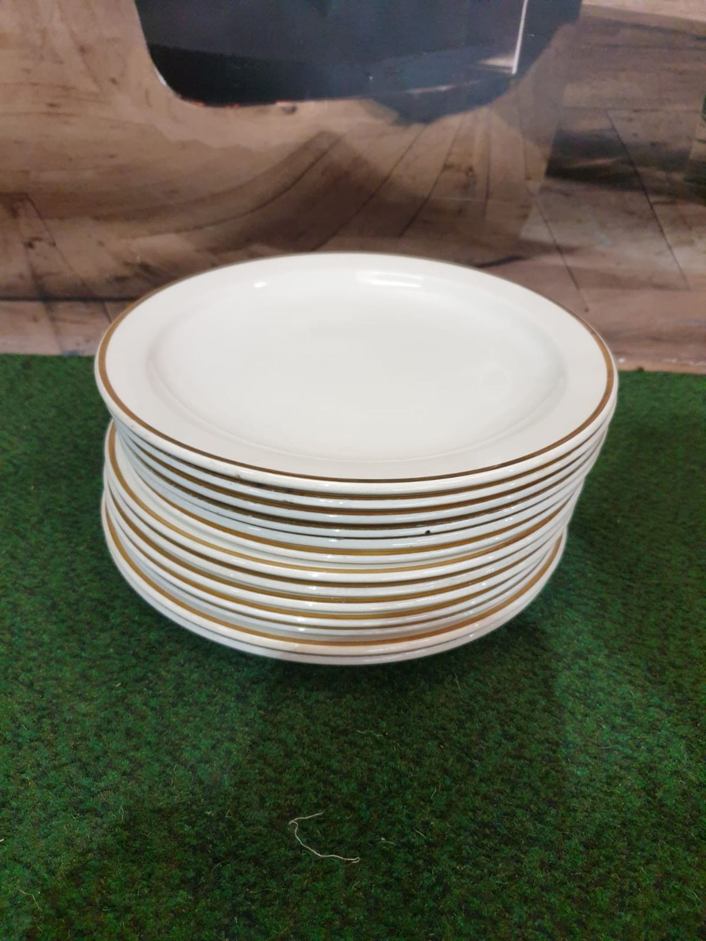 13 x Crown Ducal England Dinner plates White Gold rim 1971 - Image 2 of 3