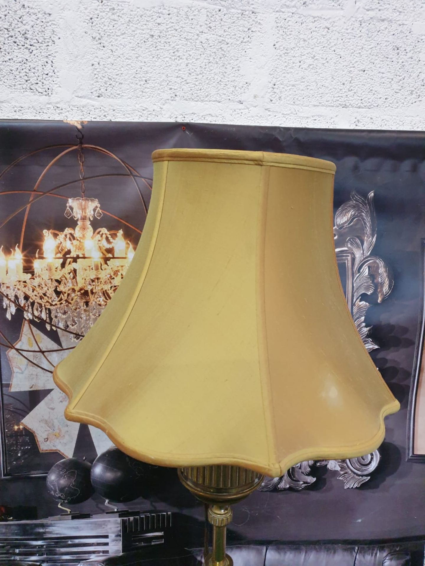 Edwardian Adam Style Brass Standard Lamp with gold coloured shade 165cm high - Image 4 of 4