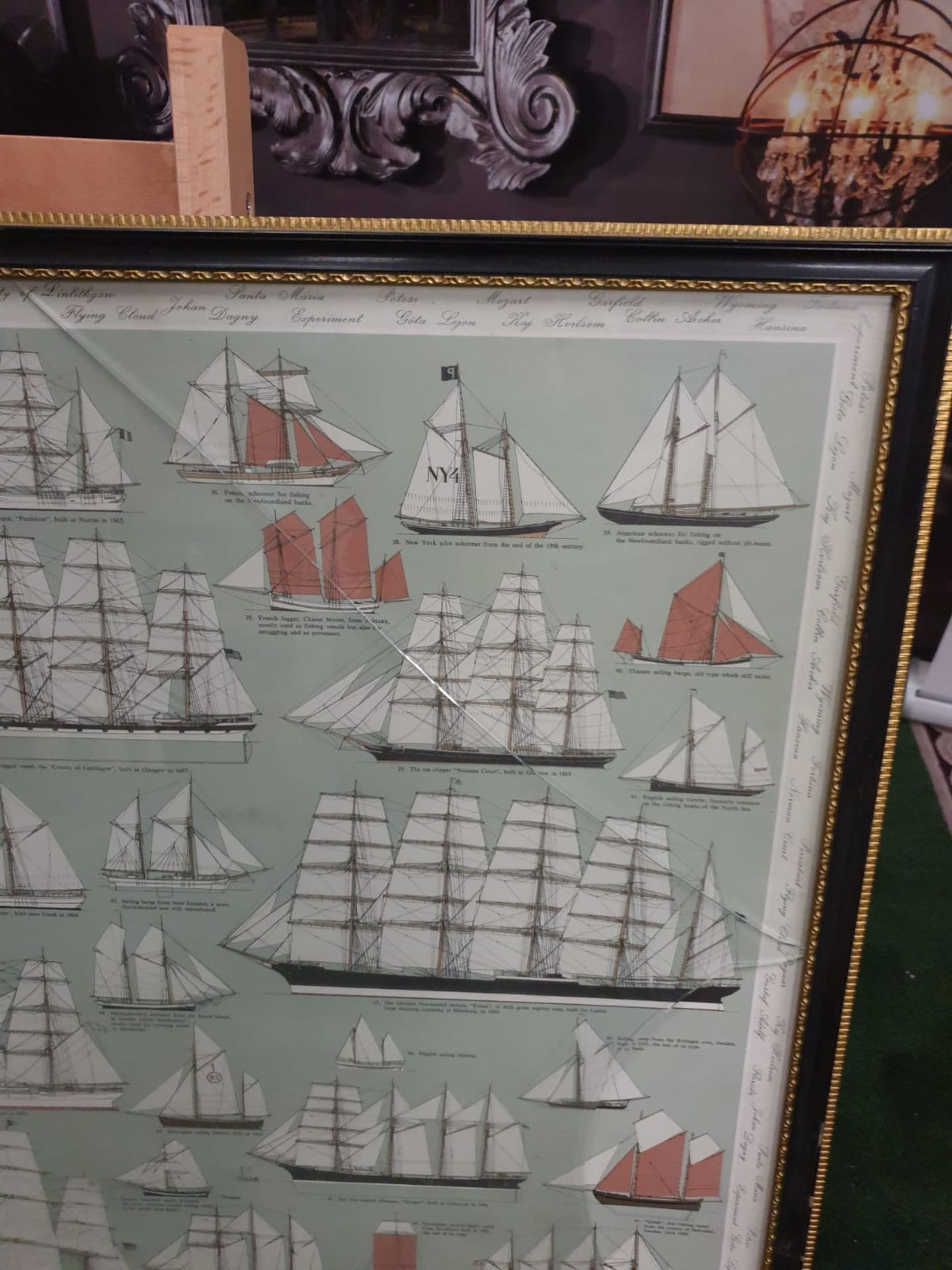 Ventis Secundis' or Sails Through The Centuries, Roman to 1926, framed colour print This spectacular - Image 5 of 6