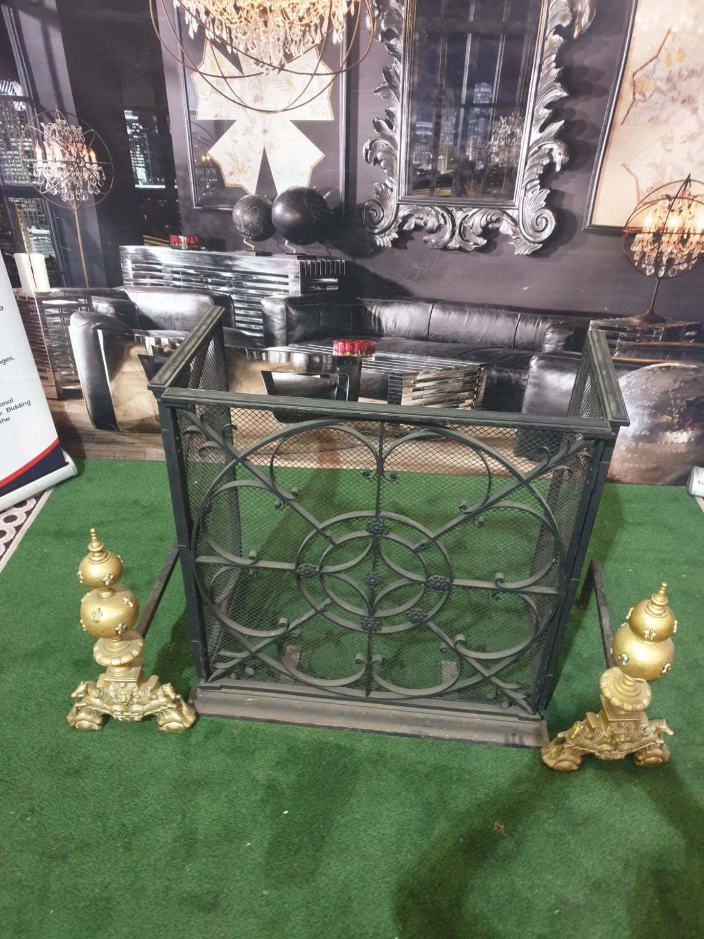 A cast metal fire guard with a pair of Brass Fire Andirons Ornate yet simple and elegant design in - Image 2 of 3