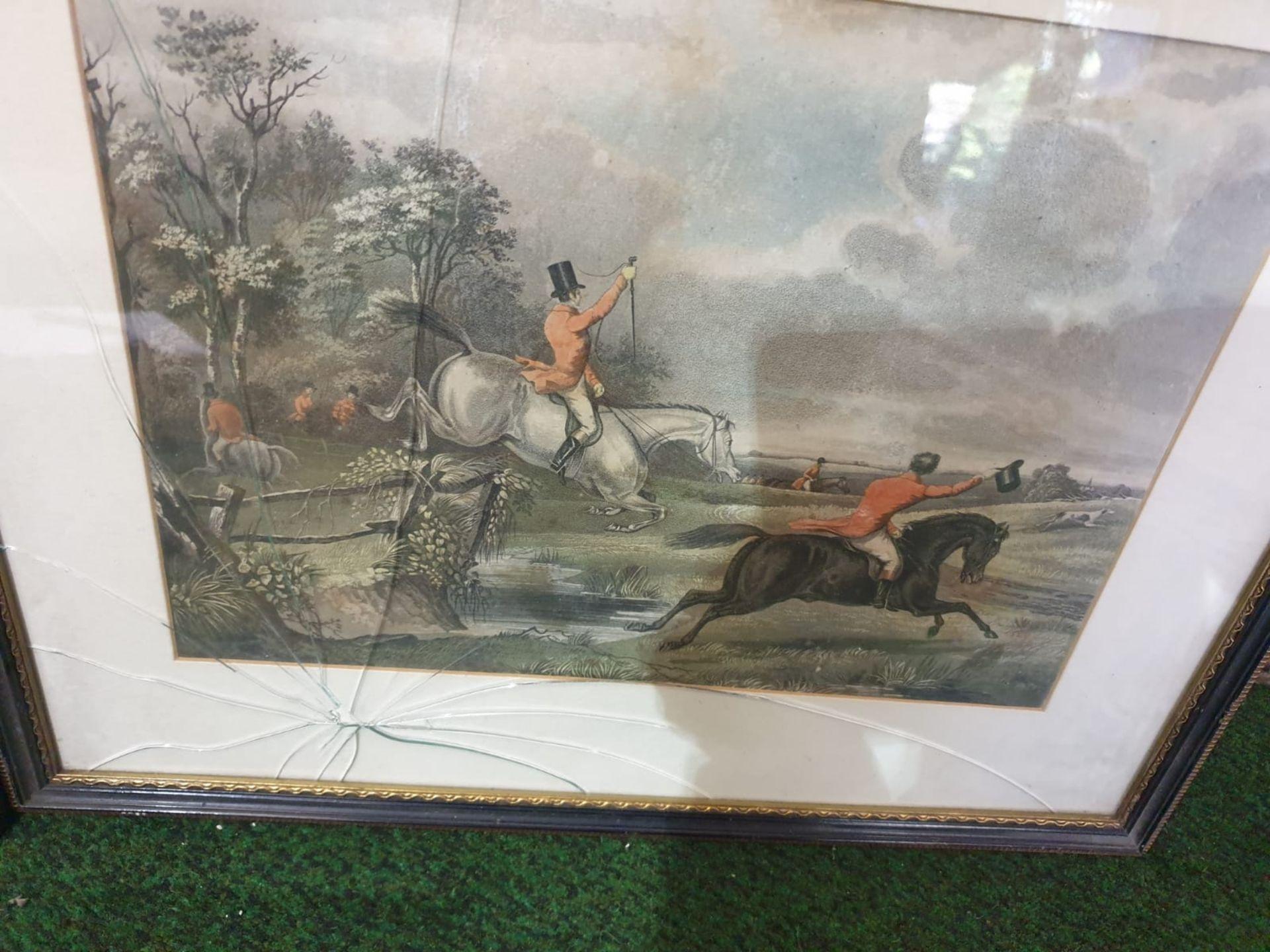 Set of 4 hunting aquatint prints in Black frame-50 x 42cm - Image 4 of 6