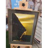 A framed modern seascape Rocks and sea landscape at Sunrise Gold frame 43 x 59cm (broken glass)