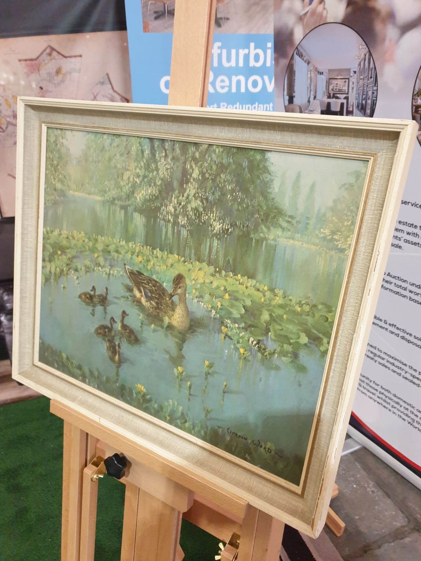 Duck and ducklings in the lily pond. Coloured reproduction' Mid 20th century Height 49 cm;