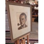 Framed portrait drawing charcoal and pencil of male sitter with pipe. 67 x 78cm