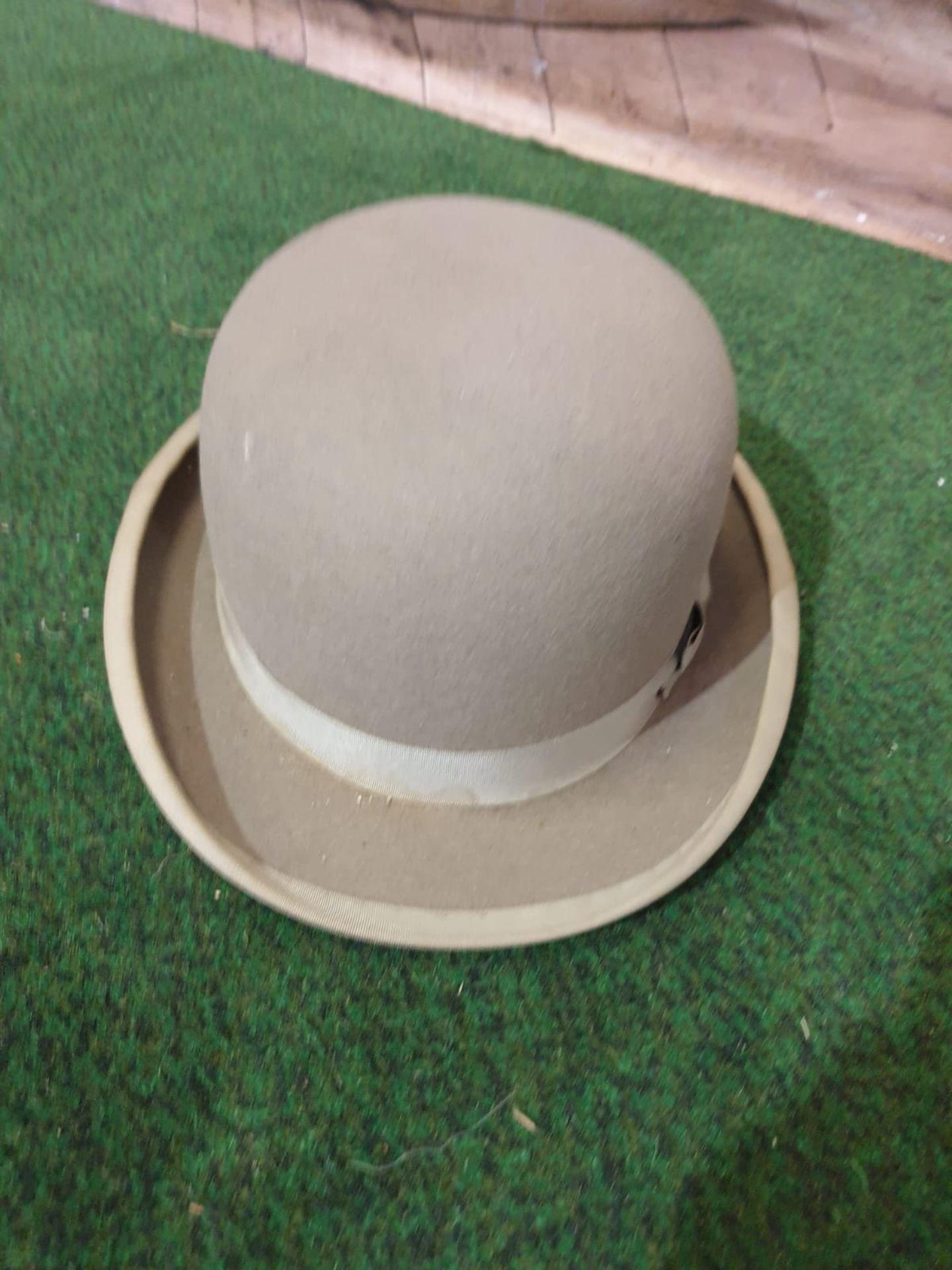 Walter Barnard & Son of Jermyn Street London Grey Bowler hat with cardboard box