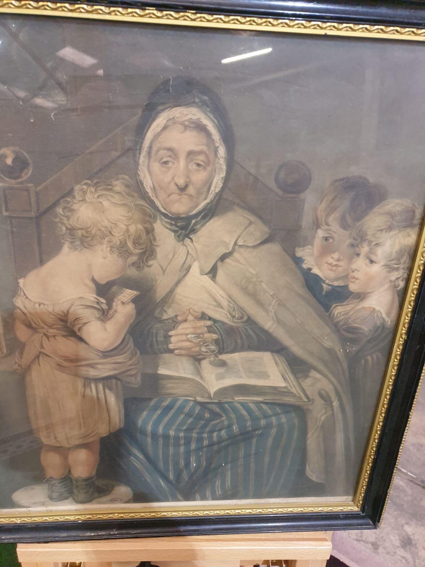 Framed vintage print Nanny with children. Black & Gold frame 52 x 59cm - Image 3 of 3