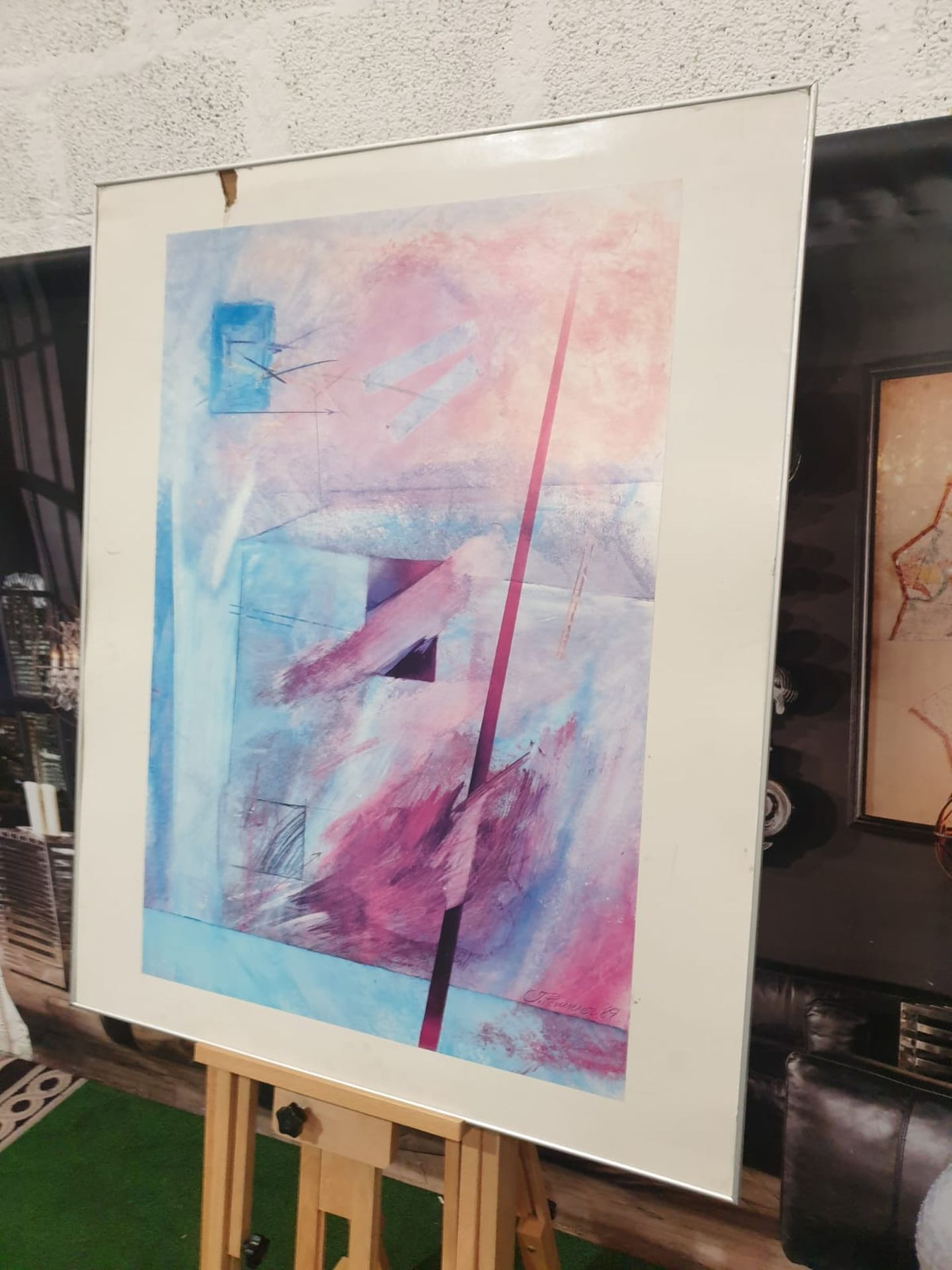 Abstract Blue/Purple wall art J. Hermasuez 89 91 x 111cm