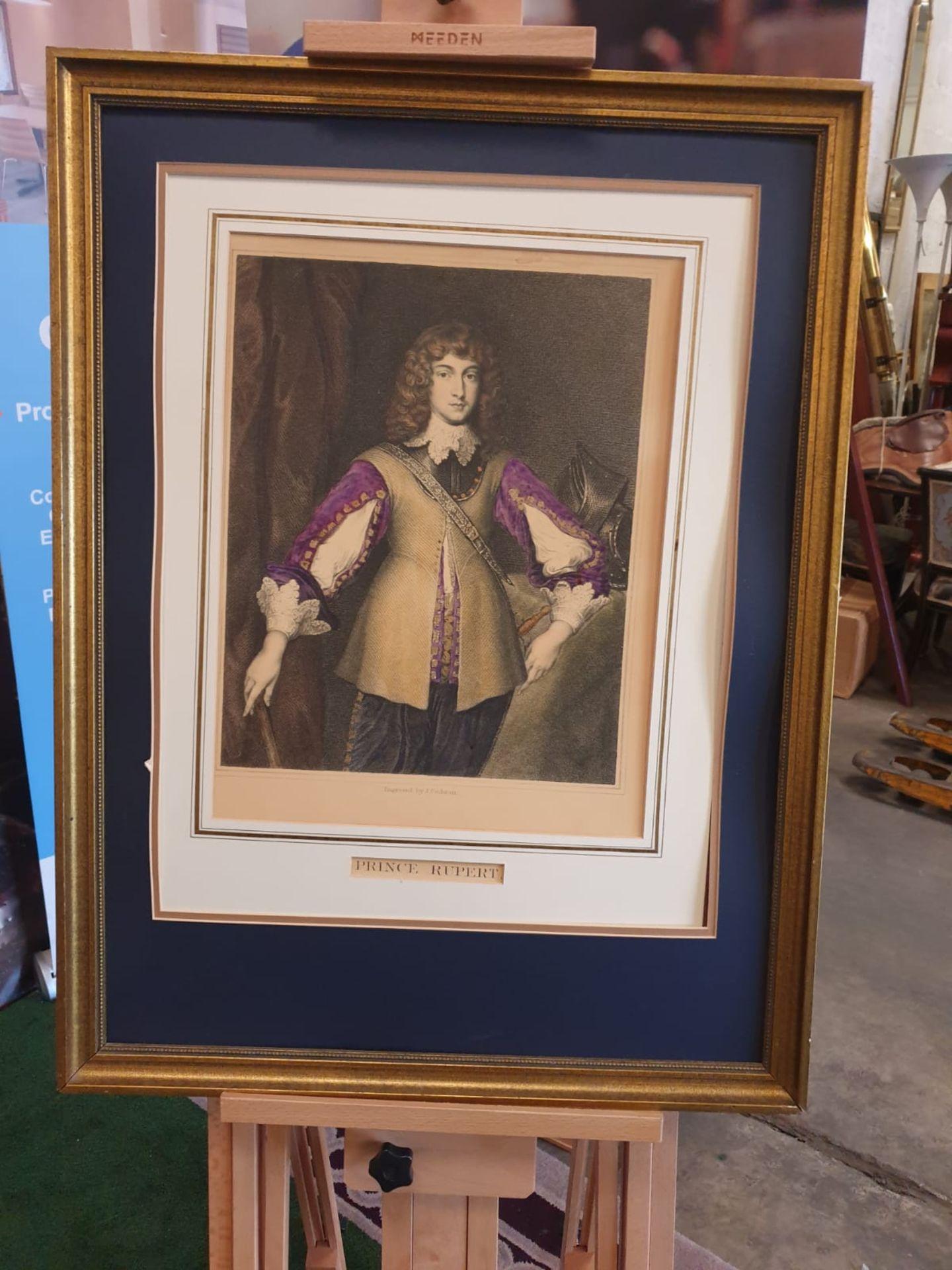 Framed Hand coloured Engraving, John Cochran of Prince Rupert, 1619 - 1682. Son of Elizabeth of - Image 3 of 4