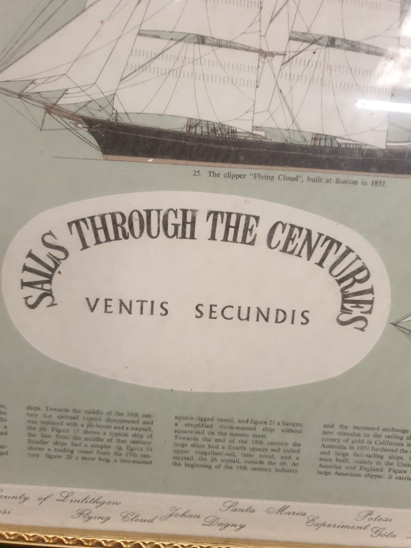 Ventis Secundis' or Sails Through The Centuries, Roman to 1926, framed colour print This spectacular - Image 3 of 6