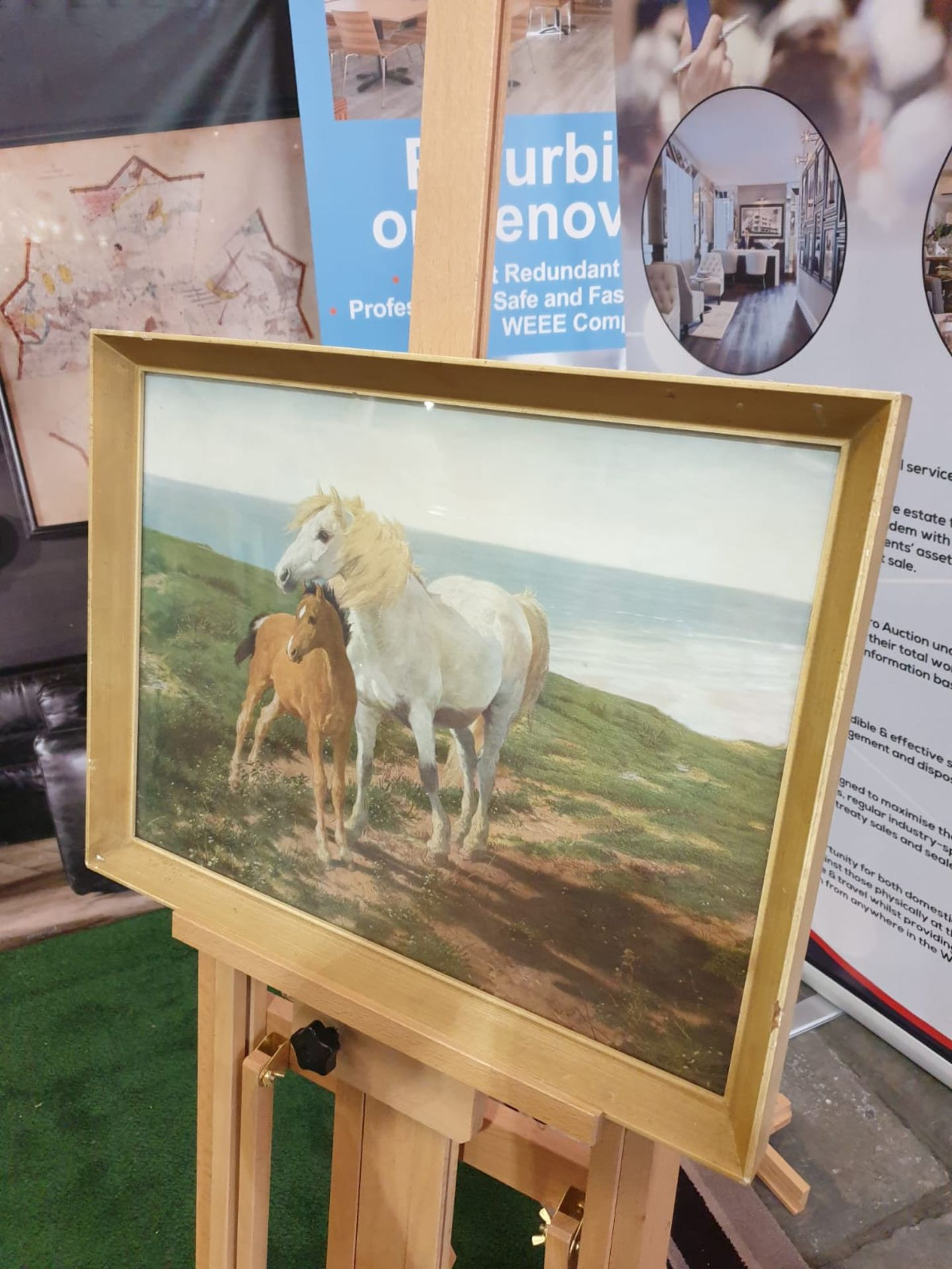 Framed vintage print of a a horse and her foal on a cliff overlooking the sea 60 x 45cm - Image 2 of 3