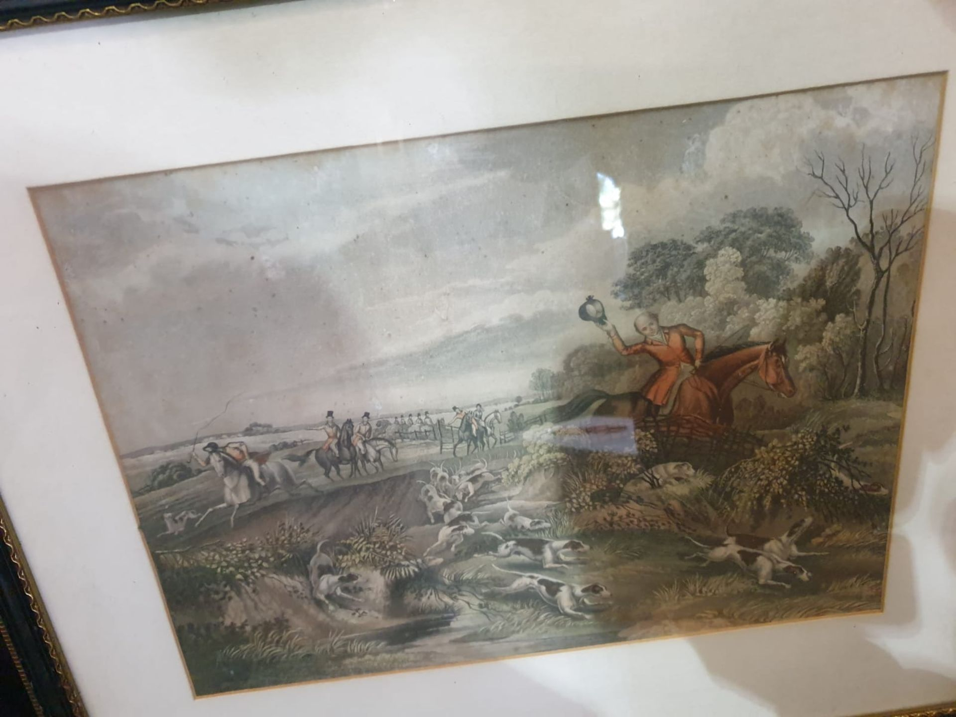 Set of 4 hunting aquatint prints in Black frame-50 x 42cm - Image 5 of 6