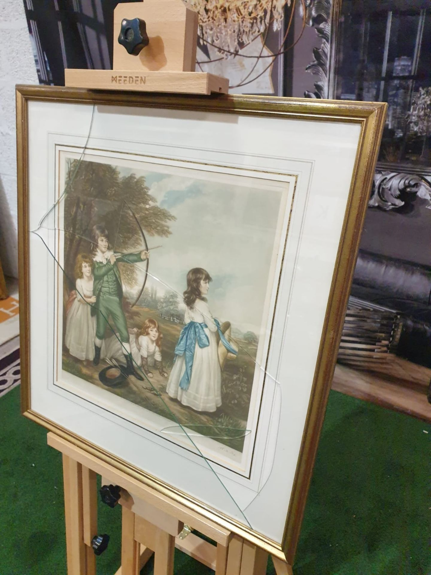 Framed coloured print of 4 Children playing, 1 child doing archery, hat and arrows on ground in - Image 2 of 5