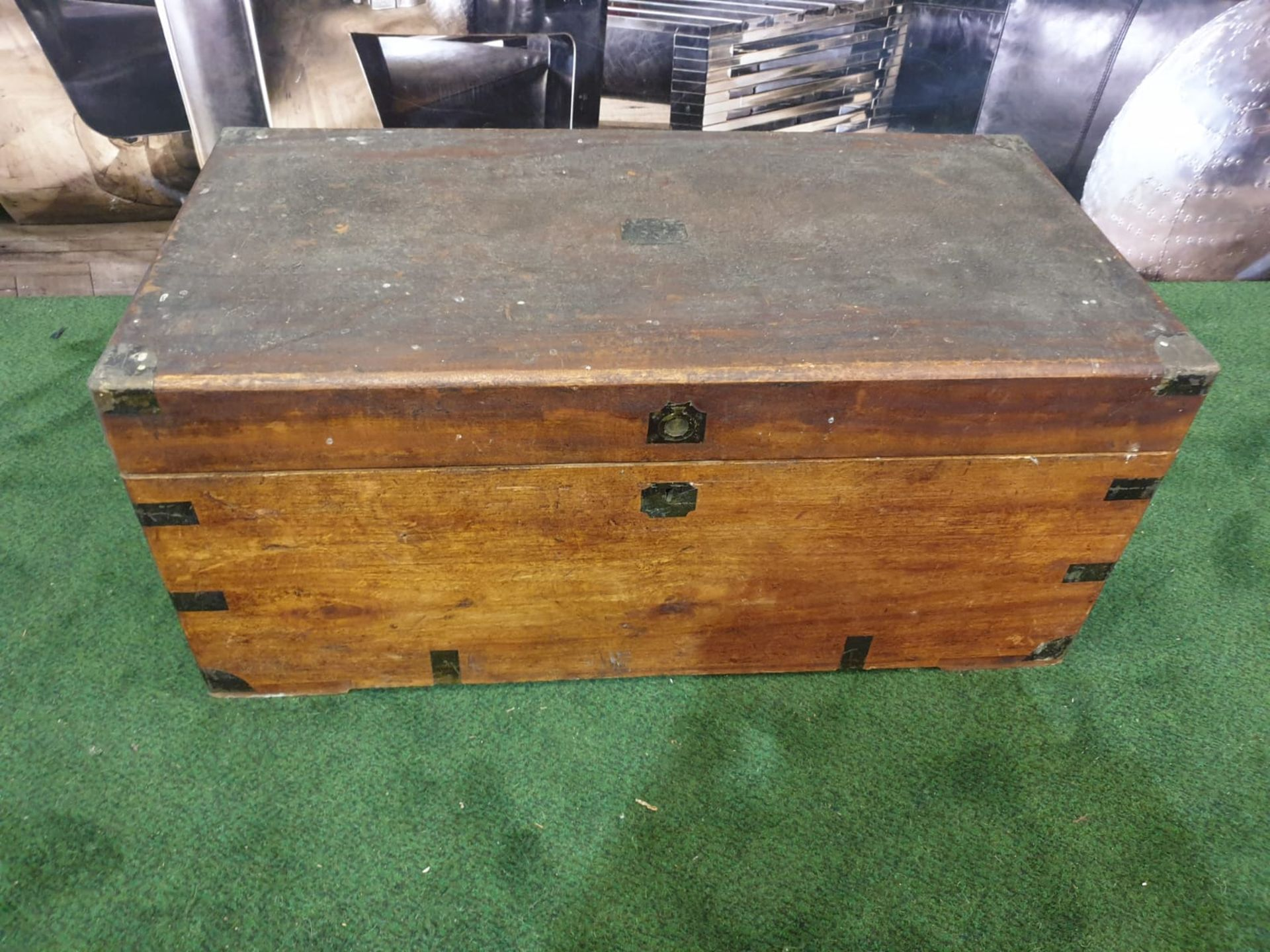 Oak Coffer or Travel Chest This mid-sized English oak coffer trunk is a pleasingly styled example