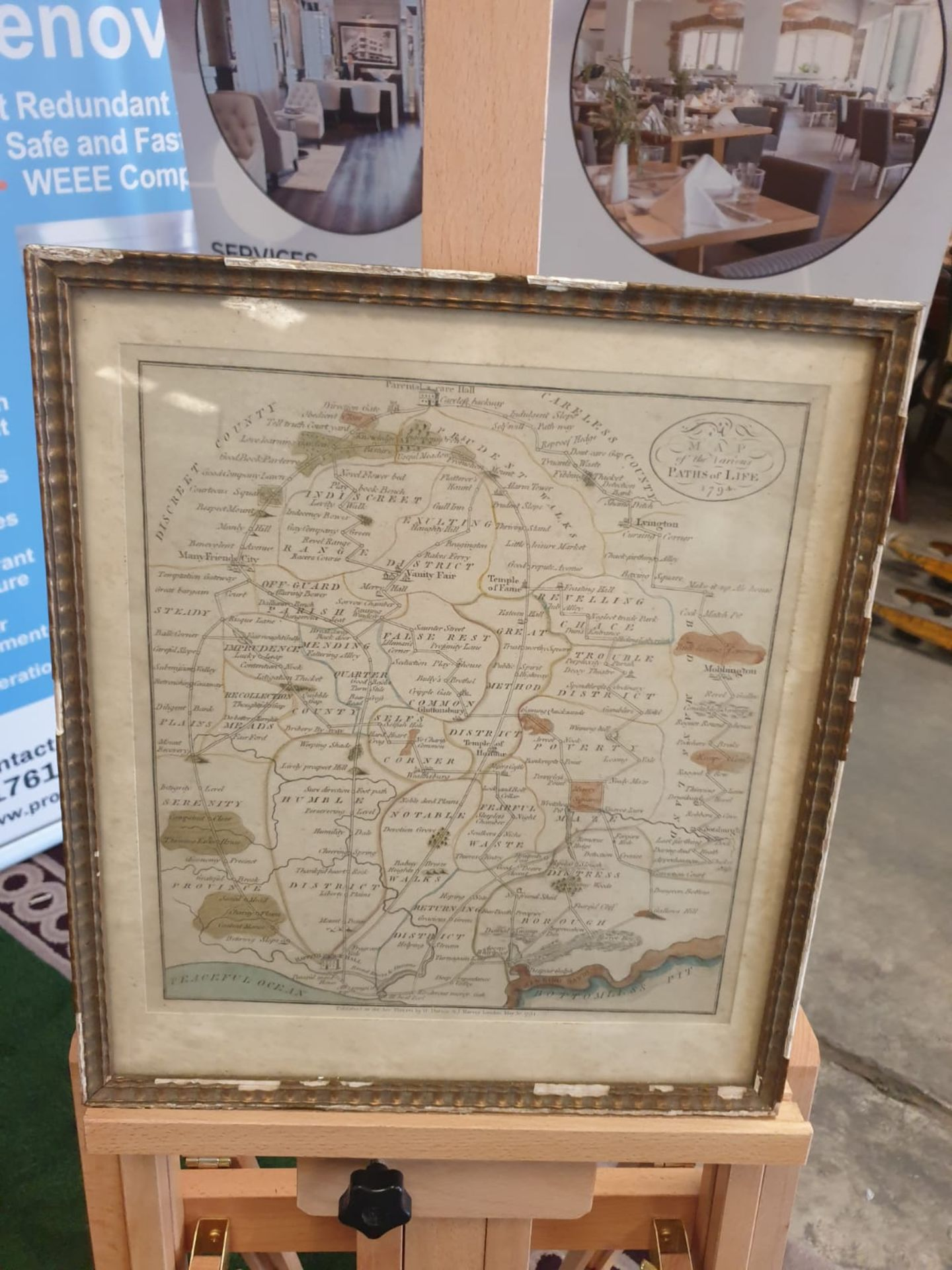 Framed An American Quaker Map's the Paths of Life Fascinating pictorial allegorical map,