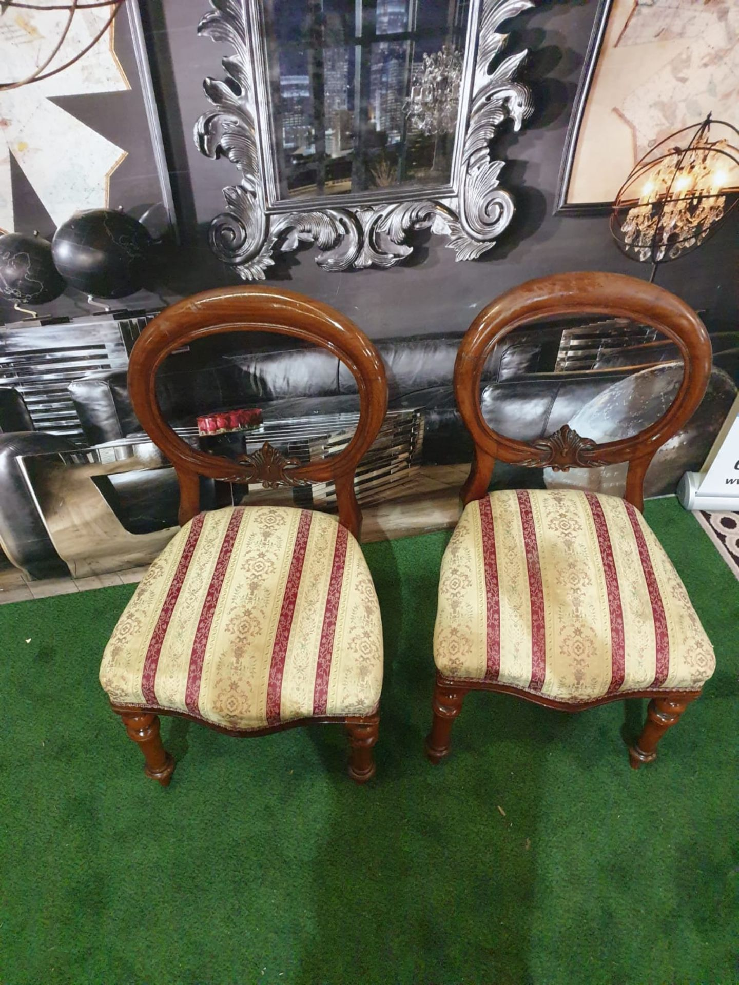 A pair of Victorian mahogany balloon back chairs. The moulded backs with carved aprons, the - Image 3 of 5