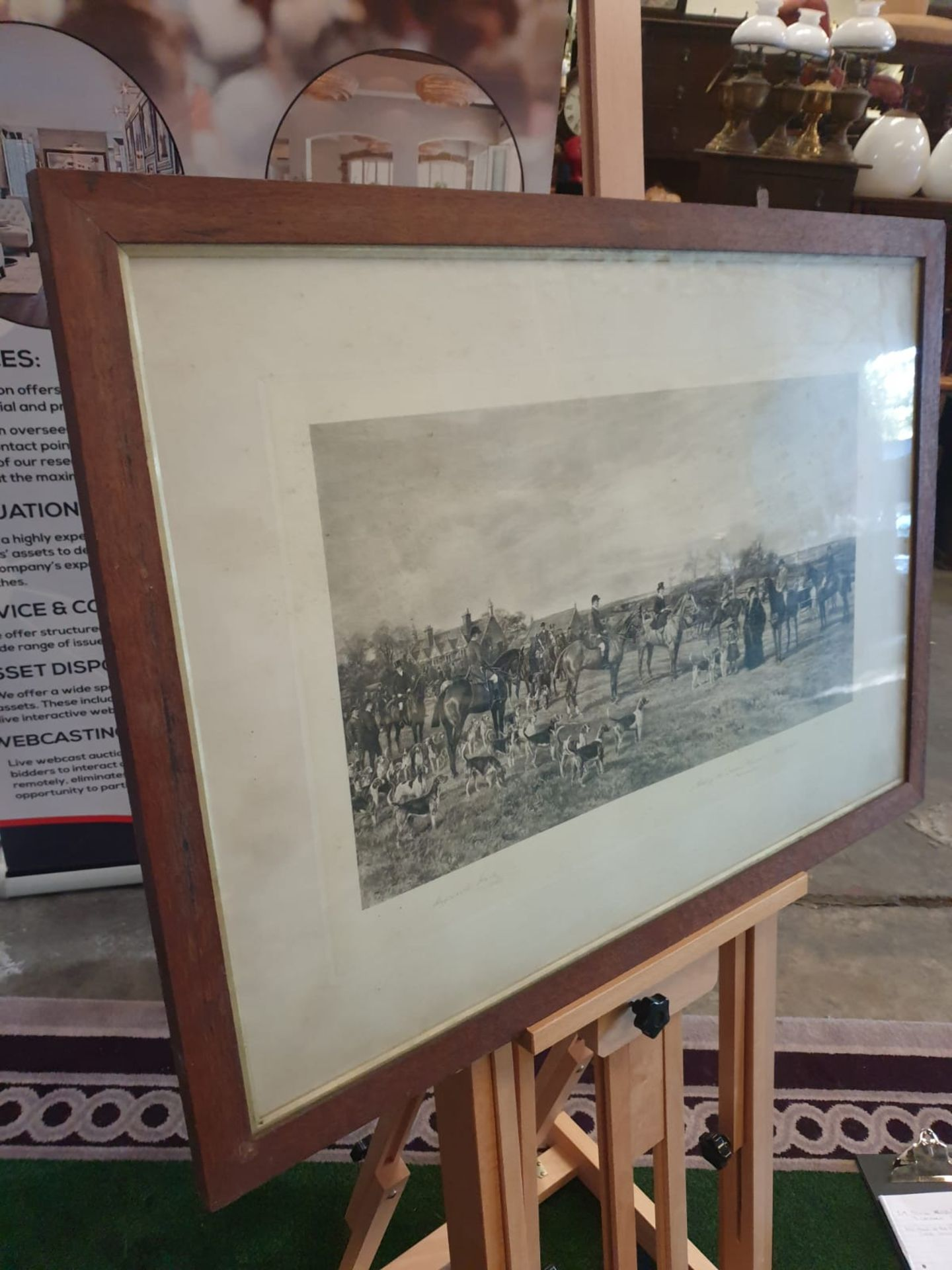 """Hand Stipple Engraving, Hayward Hardy, signed engraving """"Meet of Quorn Hounds at Kirby Gate, - Image 3 of 4"""