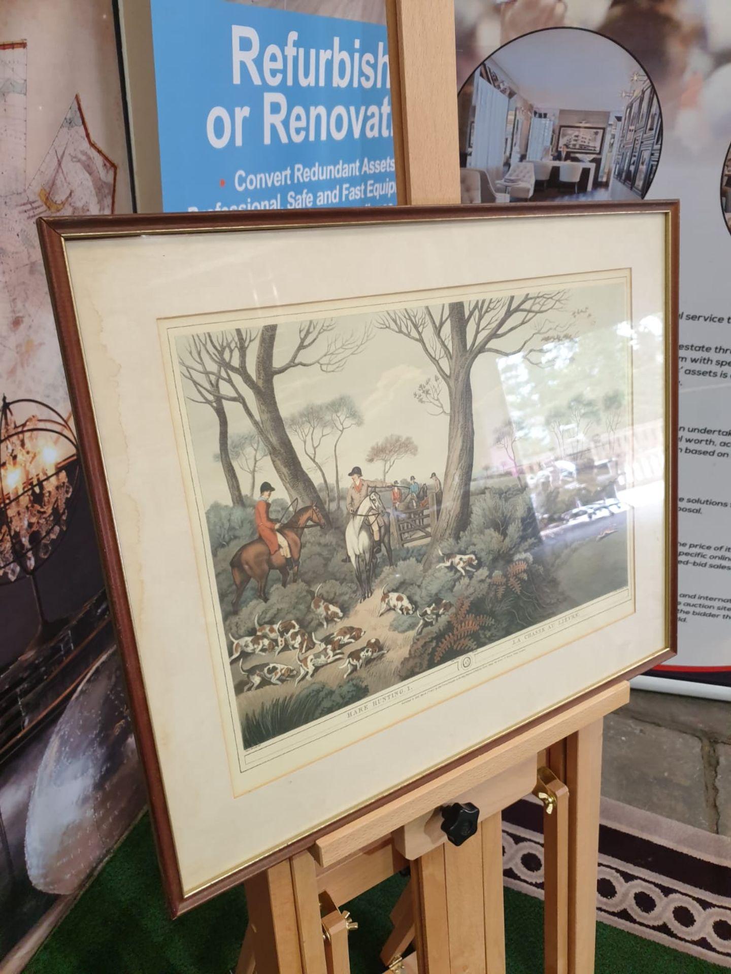 Framed Coloured print Hare Hunting 1 La Chasse au Lievre After William Samuel Howitt (1756 – - Image 2 of 6