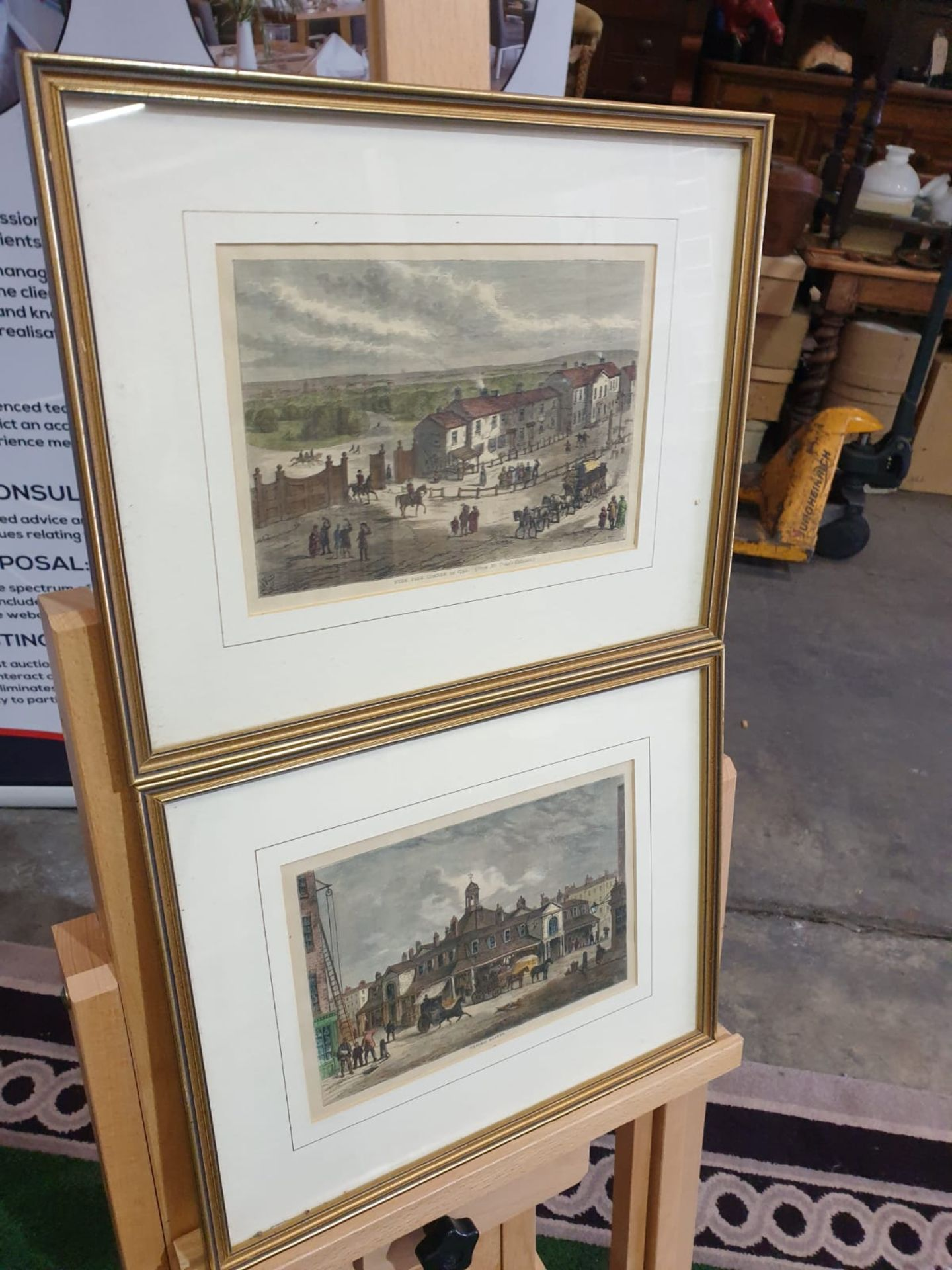 A set of 2 framed coloured lithographs APSLEY HOUSE AND PARK LANE. HYDE PARK CORNER IN 1750.