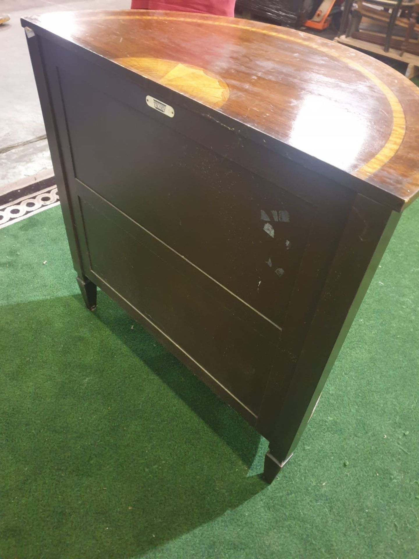 A Late Georgian style reproduction mahogany Demi Lune Cabinet With a single door with oval panels - Image 5 of 5
