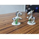 A pair of Vintage Metzler & Ortloff Germany glazed porcelain ponies with makers mark stamped Foreign