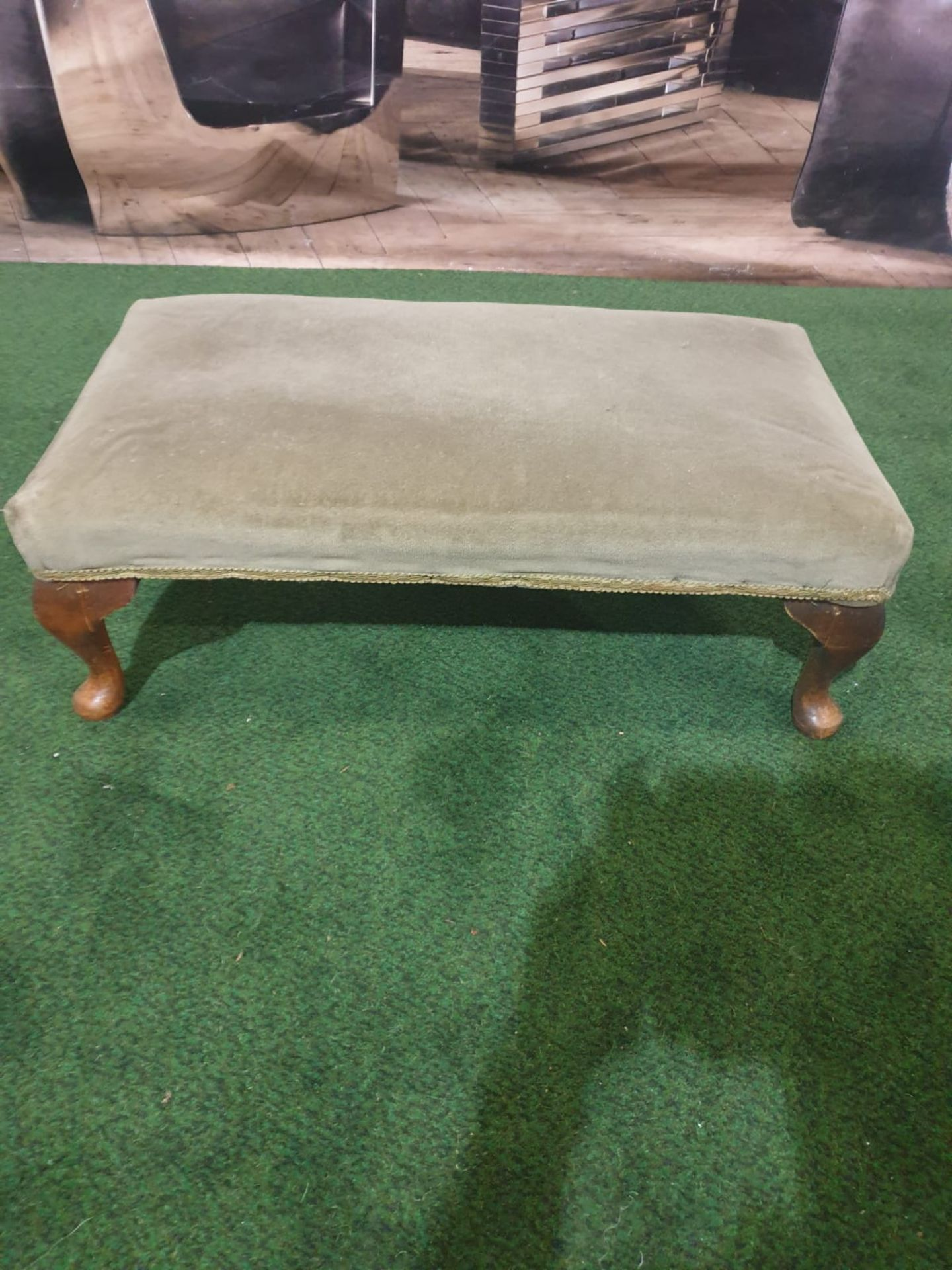 Georgian Mahogany Foot Stool raised on bold cabriole legs with Paw Feet the top upholstered in a
